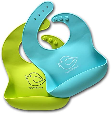 Silicone Baby Bibs Easily Wipe Clean Comfortable Soft Waterproof Bib Keeps Stains Off Set of product image