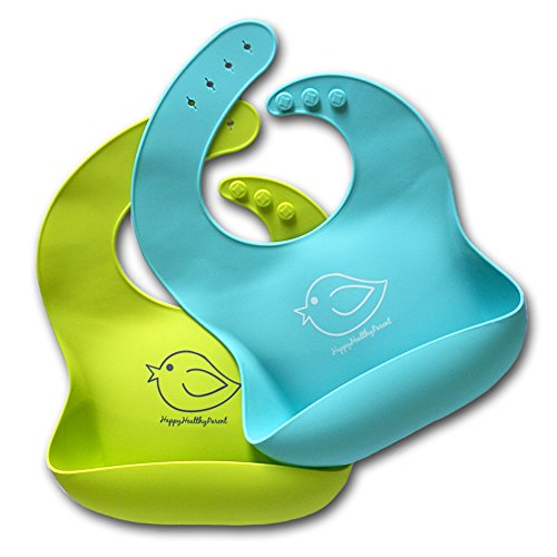 Silicone Baby Bibs Easily Wipe Clean - Comfortable Soft Waterproof Bib Keeps Stains Off, Set of 2 Colors (Lime Green/Turquoise)