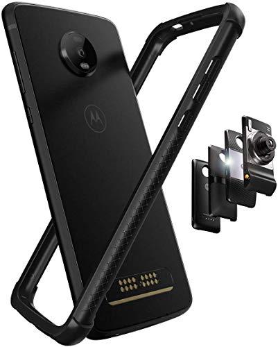 Hüllewe - Motorola Moto Z4 Flexible TPU + PC-Schutzhülle mit doppelter Einspritzung/Passend für Moto Mods - Schwarz