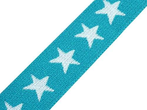 Schnoschi Gummiband Sterne 20 mm Gummizug Gummilitze Gummi Hosengummi gewebt viele Farben (türkis)