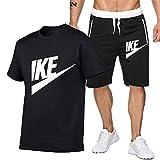 DREAMING-Hombres transpirables jogging deportes verano algodón de manga corta fitness casual camiseta top + shorts traje de pantalones de cinco puntos M