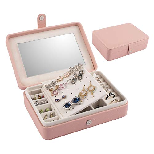 Pink Jewelry Travel Organizer Case with Mirror, Portable Storage Box Holder for Rings Earrings Necklaces, Gifts for Women, Pink