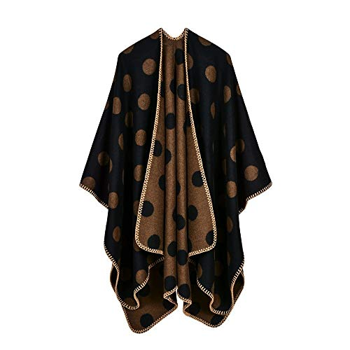 LUOLYLYM New Schal Lange Dicke Split Gabel Herbst Und Winter Büro Klimaanlage Big Dot Schal Mantel Xu-7 130 * 150Cm