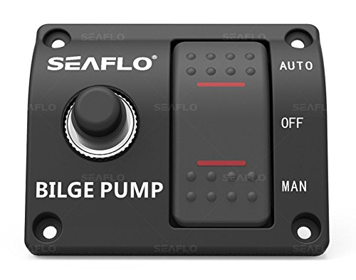 SEAFLO 3-Way Bilge Pump Switch Panel (Automatic-Off-Manual) 12v 24v w/Built-in 15A Circuit Breaker