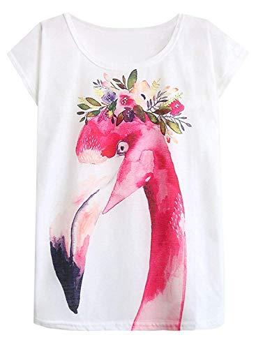 Doballa Damen Flamingo T-Shirt Floral Crown Garland Muster Kurzarm Niedlich Oberteile, Weiß, L