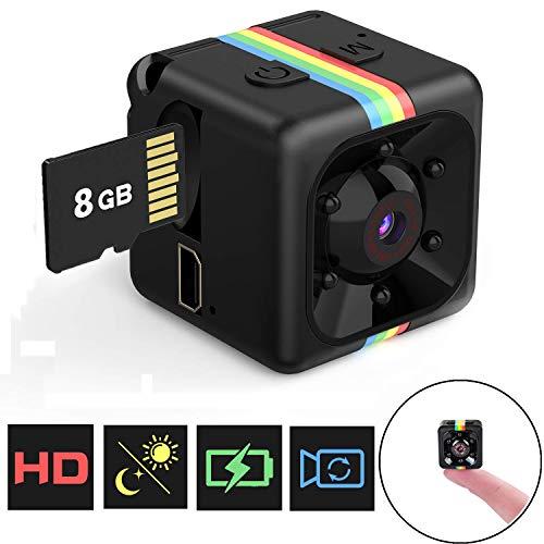 Mini Kamera, Flylinktech Full HD 1080P Mini Cam Überwachungskamera mit Nachtsicht und 8G SD Card