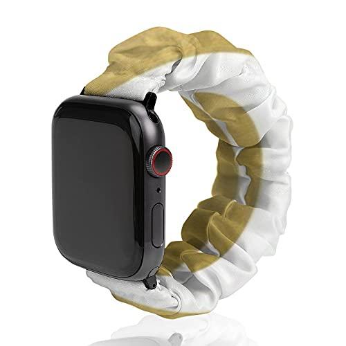 Correa de repuesto para hombre y mujer, compatible con Apple Watch de 42 mm/44 mm, correa elástica suave y elástica para iWatch Series SE 6/5/4/3/2/1, rayas doradas desiguales en blanco transparente