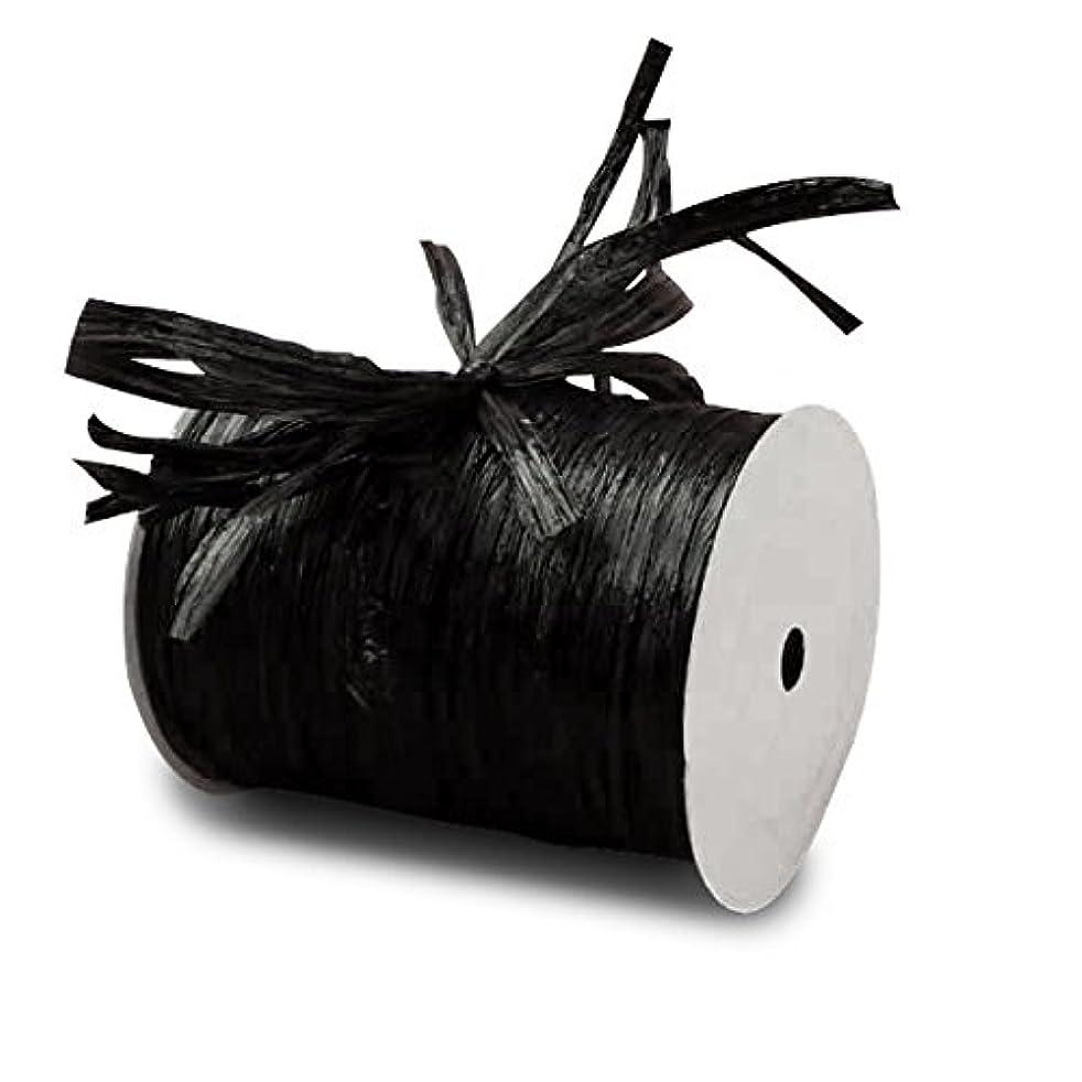 Black Matte Raffia Ribbon 1/4