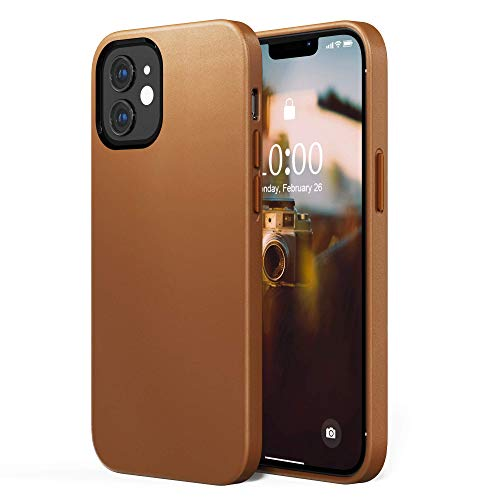 SURPHY Faux Leather Case Compatible with iPhone 12 Mini Case 5.4 inches, Premium Faux Leather Case Cover (with Metallic Buttons & Microfiber Lining) Compatible with iPhone 12 Mini (Brown)