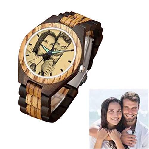 Personalisierte Custom Foto Holzuhr Armbanduhr für Männer graviert Vatertagsgeschenk für Männer Papa Opa (style7 40MM-Herren)