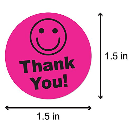 "Pink - Thank You Circle Smile Smiley Face 1.5"" Round Circle Mailing Labels Stickers - 1 Roll Photo #2"