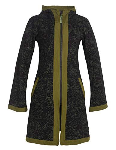 Vishes - Alternative Bekleidung - Zwei-Farbiger Damen Elfen Kurz-Mantel Zipfelkapuze Blumen-Druck Lagenlook schwarz 42