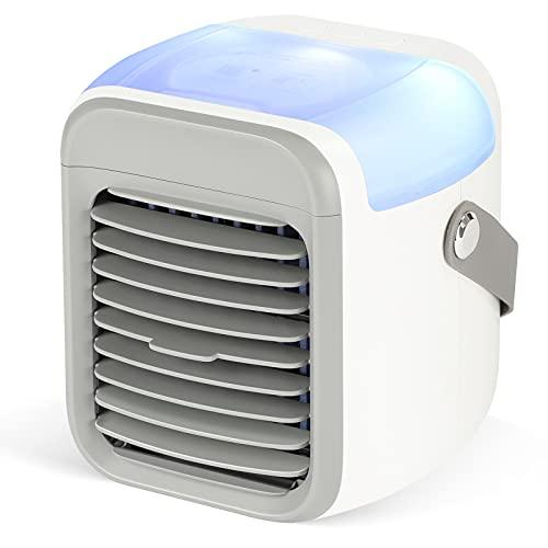 SHYOSUCCE Aire Acondicionado Portátil 4 en 1, Mini Enfriador de Aire 300ml con 3 Velocidades Ajustables, 7 Colores LED, Humidificador Recargable para Dormitorio, Oficina y Camping