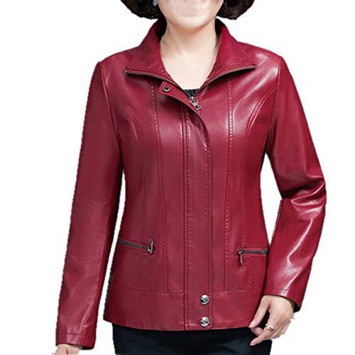 Chaqueta de cuero de gran tamaño de las mujeres de cuero corto abrigo cremallera otoño e invierno chaqueta de cuero