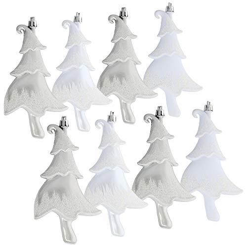 com-four® 8X Christbaumanhänger Tannenbaum - Weihnachtsbaum-Anhänger in weiß und silberfarben - Weihnachtsbaumschmuck bruchfest (08 Stück - Tannenbaum)