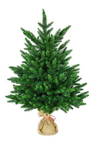 eveXmas 80cm Künstlicher Weihnachtsbaum, Tannenbaum Onyx Kleiner Grün, 134 Zweige 100% PE-Spitzen, inkl. Dekorativer Ständer in Sackleinen