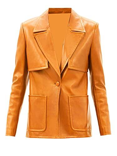 TIPTOP Violeet Designer - Abrigo de piel auténtica para mujer, estilo clásico, talla regular y extra, color negro, rojo, gris, marrón