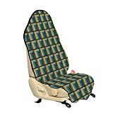 Lunarable Abstract Car Seat Hoodie, Squares Inside Rectangle Intersections Modern Op Art Style Pattern, Car Seat Cover Protector Non Slip Backing Universal Fit, 30' X 57', Khaki Teal and Night Blue