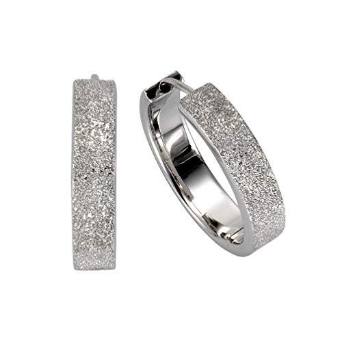 Celesta Silber Damen Creolen 925/- Sterling Silber 2,2cm Diamantiert weiß 271210231