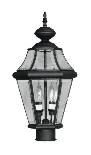 Livex Lighting 2264-04 Outdoor Post with Clear Beveled Glass Shades, Black