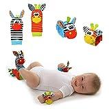 Wisilian 4 Stück Handgelenk-Rassel & Fußfinder Socken, niedliche Plüschtiere, für Kleinkinder, Babys (eine Packung Socken) Gr. S, Socks&wrist Strap