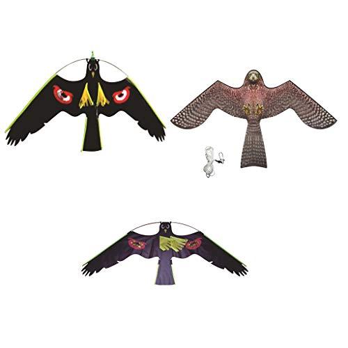 joyMerit 3pcs Drachenschnur Falke Lockvogel Vogelscheuche Gartenfigur, Fliegend Adler