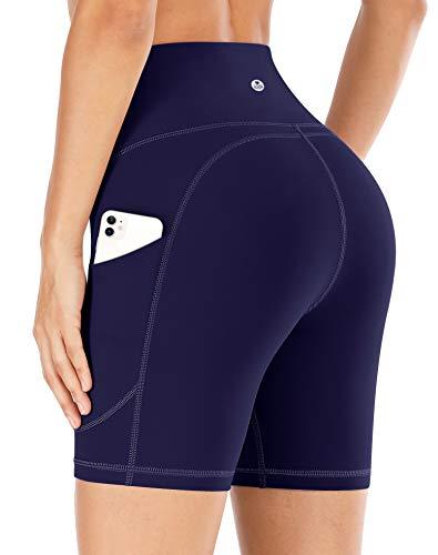 IUGA Yoga Shorts for Women Workout Shorts Tummy Control Running Shorts with Side Pockets Navy Blue