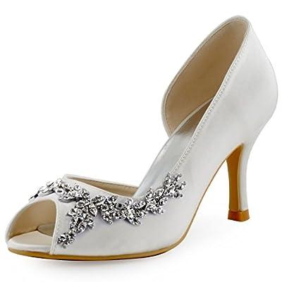 ElegantPark HP1542 Women Peep Toe Rhinestones Pumps High Heel Satin Wedding Bridal Dress Shoes Ivory US 8