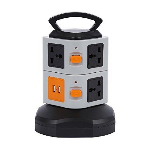 Tsing Verticaal stopcontact 7 uitgangen 2 poorten USB 2-laag overspanningsbeveiliging Power Board EU 2500 W, Noir-Gris