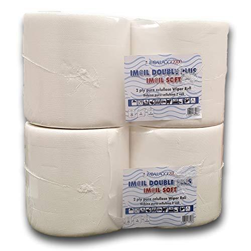 IMBALLAGGI 2000-4 Rotoloni Carta Asciugatutto Industriale - 800 Strappi - Ideale per Uso Alimentare e Compatibile con Dispenser - 4 Rotoli