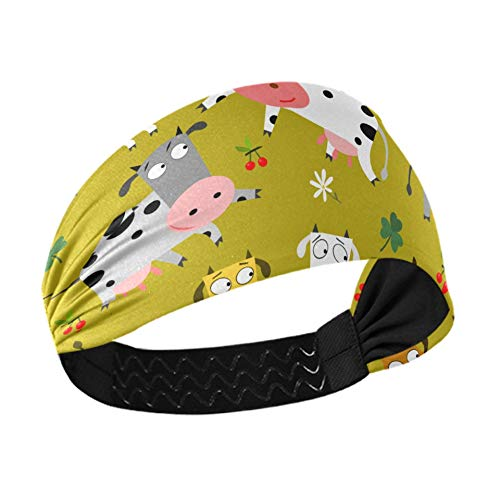 Athletic Headband Women Colorful Cows Vector Mens Headbands With Non-slip Elastic Webbing For Running Fitness Basketball Dancing Fits All Men And Women