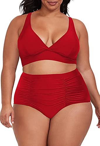 Sovoyontee Women's 2 Piece Plus Size High Waisted Swimsuit Bathing Suit Red 2XL