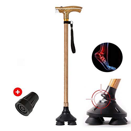 Bastón de caminar para personas de edad avanzada, con luz LED, ajustable, plegable, base pivotante, soporte de barra de balanceo seguro al aire libre para hombres y mujeres de edad avanzada