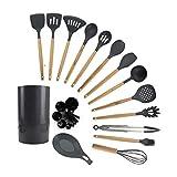 HMBB Cucina Utensili da Cucina Set con Il Supporto, 16pcs Silicone da Cucina Cucchiaio Spatola Manico in Legno, Set da Cucina Mestoli