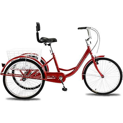 Erwachsene Fahrradkorb Aluminium Dreirad Trike-Kreuzfahrt, Kein Brennstoff, Für Mann Und Frau In Der Unterschiedlichen Höhe (Color : Big red)