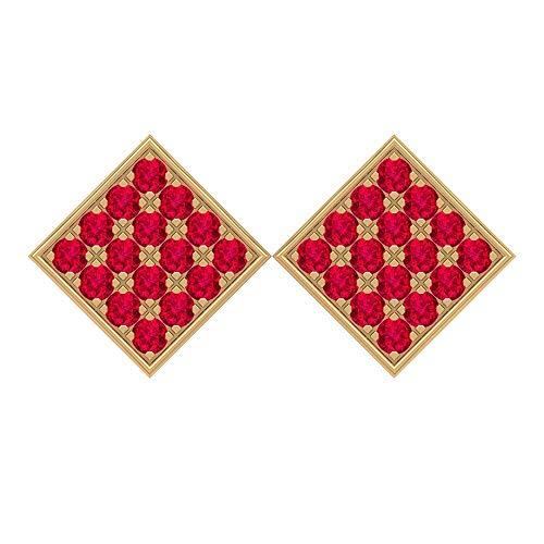 Rosec Jewels - Pendientes de rubí creados de 1 quilate, aretes de oro cuadrados, aretes de tuerca con rosca trasera. rojo