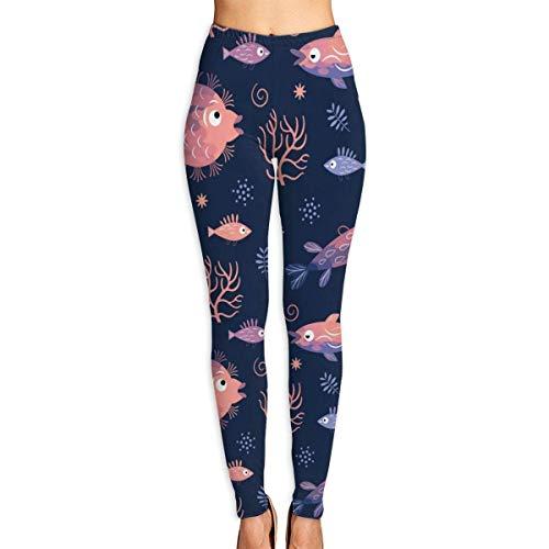 AAAshorts Fishes Fish - Pantalones de yoga impresos para mujer, cintura alta, leggings de entrenamiento