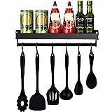 mreechan Porte-épices,étagère de cuisine, Étagère de Cuisine Murale Sans Perçage Étagère à Epices avec 6 crochets amovibles pour le couloir de la salle de bain de la cuisine, etc. (black)