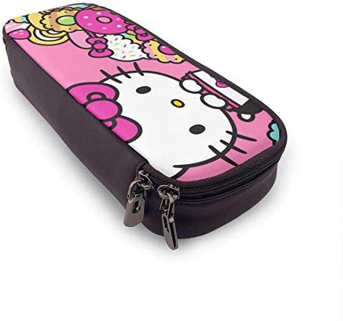 Estuche para lápices Hello Kitty Cafe de gran capacidad, bolsa para lápices de maquillaje, bolsa de papelería con doble cremallera para la escuela/oficina