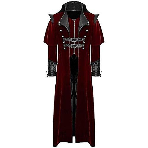 Shujin Herren Vintage Frack Steampunk Gothic Jacke Viktorianischen Langer Mantel Fasching Karneval Cosplay Kostüm Smoking Jacke Uniform