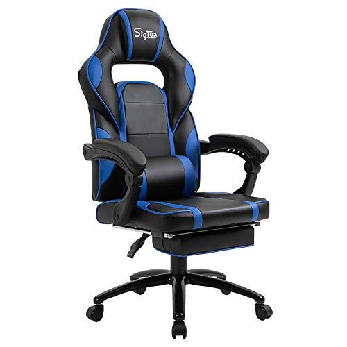 Sigtua, Pro Gamer Stuhl Gaming Stuhl Ergonomischer PC Stuhl Höhenverstellbarer Armlehnen Schreibtischstuhl Bürostuhl Drehstuhl Chefsessel mit Fußstütze, Kopfstütze & Lordosenstütze, Blau
