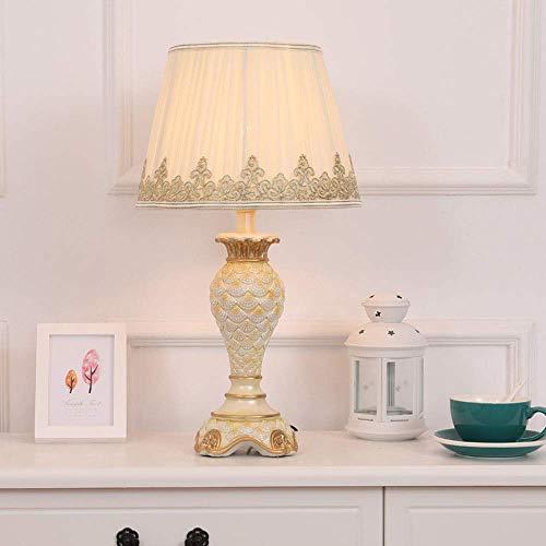 BINGFANG-W Dormitorio Forma Blanca Europea Moderna de Alta la luz ámbar del cordón del Bordado Tela Goldfish Globo del Material de Resina de El Cuerpo de la lámpara de Noche Lámparas de Mesa Lámparas