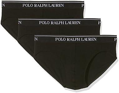 Ralph Lauren 250-u3pbf, Slip para Hombre, (Pack de 3), Negro, Large