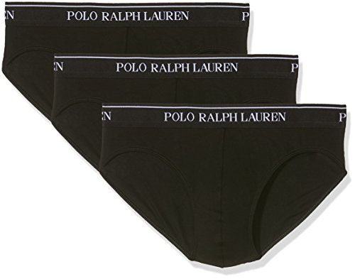 POLO RALPH LAUREN 3 Packs Classic Briefs Pantaloncini, Schwarz (Black A0001), S (Pacco da 3) Uomo