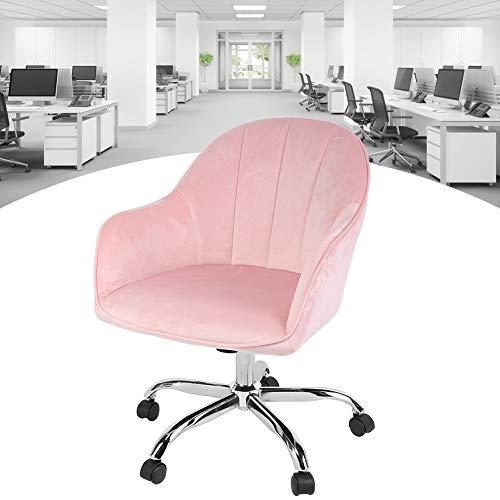 lyrlody- Rollhocker mit Rückenlehne und Armlehnen aus Samt, 360 Grad Drehen Arbeitshocker Bürostuhl Drehstuhl Bürohocker Schreibtischstuhl Rollstuhl mit 5 Rädern, Rosa, 57x60x88cm