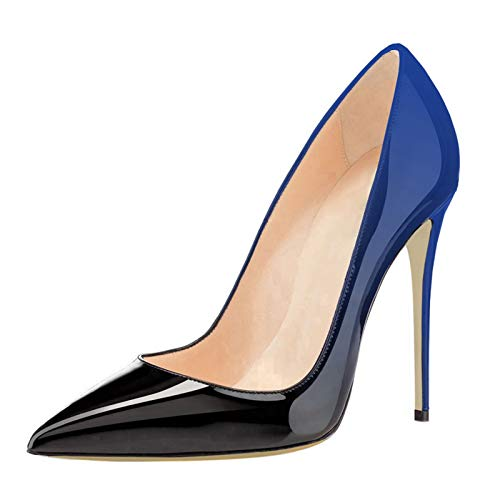 COLETER Pointy Toe Pumps for Women,Patent Gradient Animal Print High Heels Usual Dress Shoes Blue Black 10cm-Blueb 9.5 US