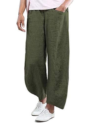Minetom Pantalones Largos de Lino para Mujer Verano Pantalones Casual Cómodo Baggy Pantalón Palazzo de Pierna Ancha A Verde Militar XXL