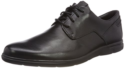 Clarks Men's Vennor Walk Derby, Schwarz (Black Leather), 47 EU
