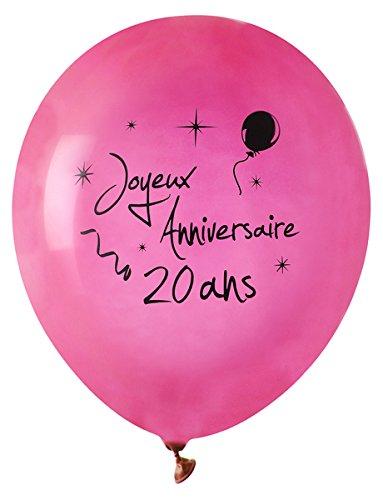 SANTEX 4842-20, Sachet de 8 ballons latex 23cm Joyeux Anniversaire 20 ans, fuchsia