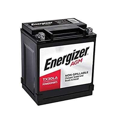 Energizer ETX30LA AGM Motorcycle and ATV 12V Battery, 385 Cold Cranking Amps and 30 Ahr. Replaces: TX30LA and others